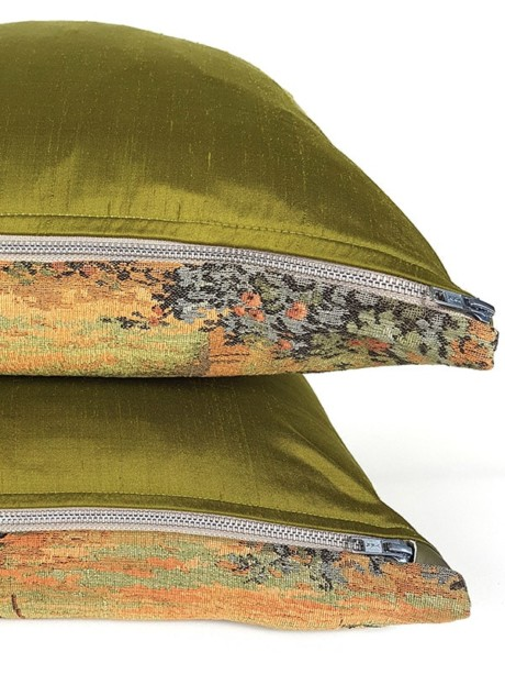 French Tapestry Throw Pillow Royal Picnic Zipper Silk Back