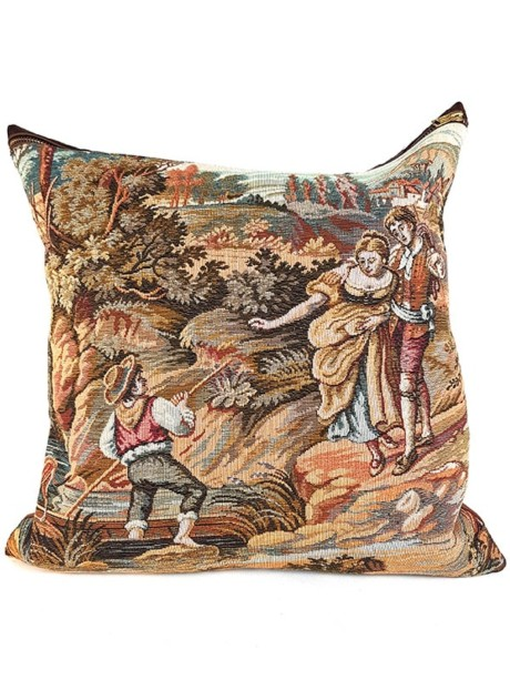French Tapestry Throw Pillow Young Love Front