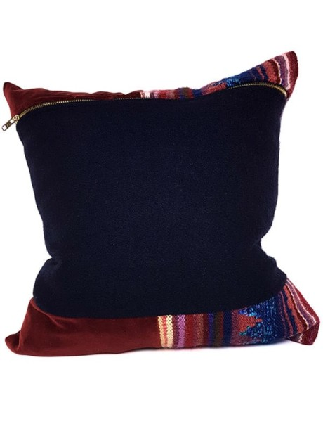 Hand Woven Striped Wool Throw Pillow Back