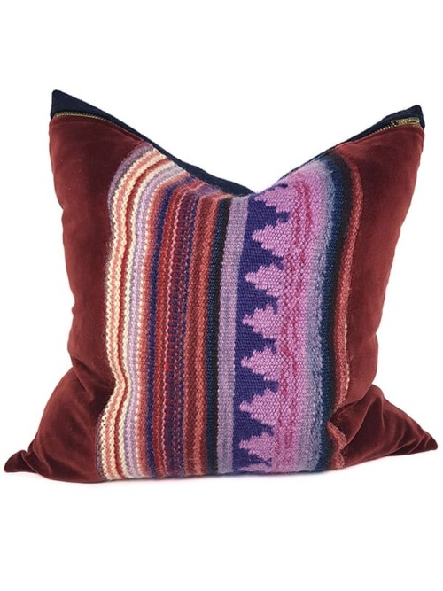 Hand Woven Striped Wool Throw Pillow Centered Front