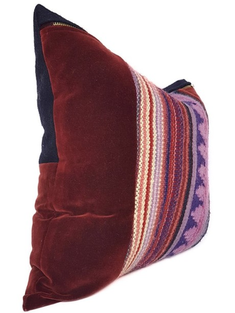 Hand Woven Striped Wool Throw Pillow Centered Side