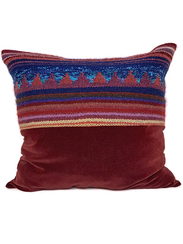Hand Woven Striped Wool Throw Pillow Offset Front