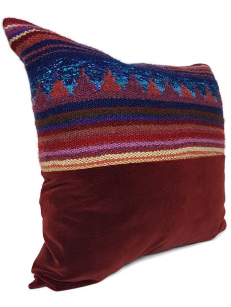 Hand Woven Striped Wool Throw Pillow Offset Side