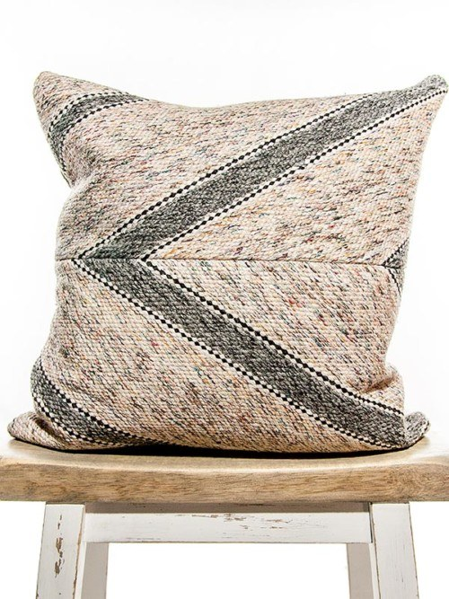 Matt Cotton Striped Square Pillow Front