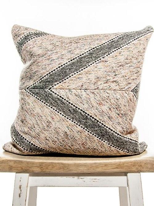 Matt Cotton Striped Square Pillow Front
