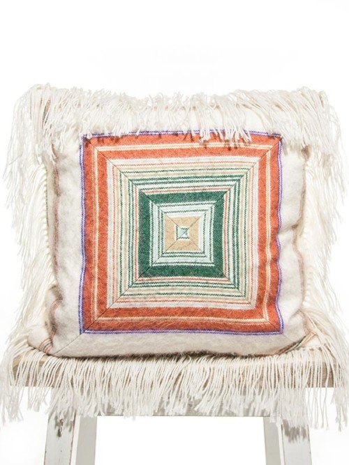 Mid Century Alpaca Striped Coral And Teal Square Pillow Front