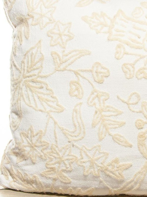 Mid Century Embroidered Wool Cotton Floral Square Pillow Zoom