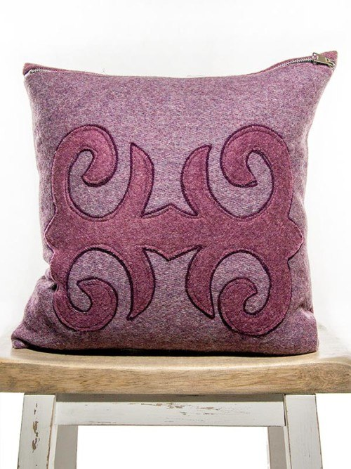 Moroccan Burgundy Mauve Throw Pillow Front
