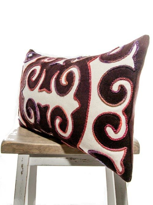 Moroccan Burgundy And Cream Rectangle Pillow Corner
