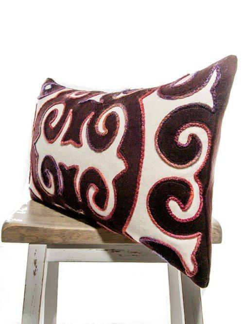 Moroccan Burgundy And Cream Rectangle Pillow Corner