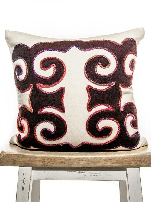 Moroccan Burgundy And Cream Square Pillow
