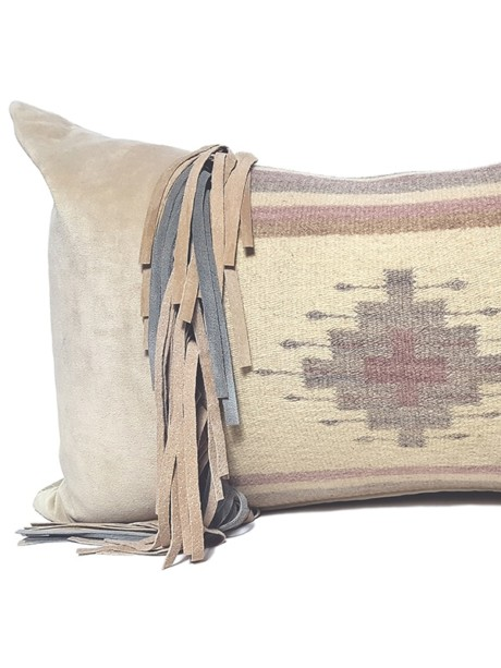 Navajo Nation Fringed Lumbar Pillow Cross Fringe Feature