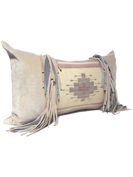 Navajo Nation Fringed Lumbar Pillow Cross Fringe Side