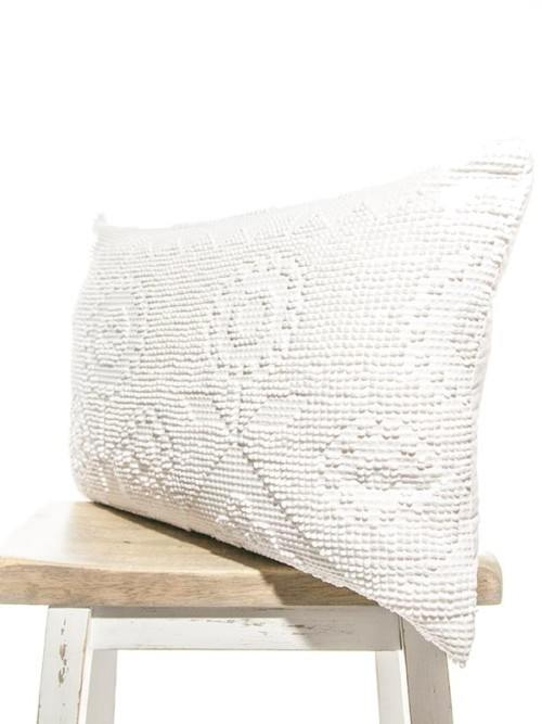 Pixelated Vintage White Cotton Rectangle Pillow Corner
