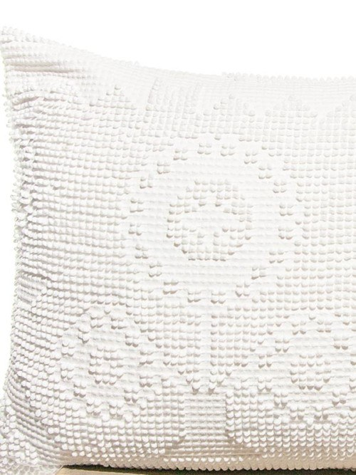 Pixelated Vintage White Cotton Rectangle Pillow Zoom