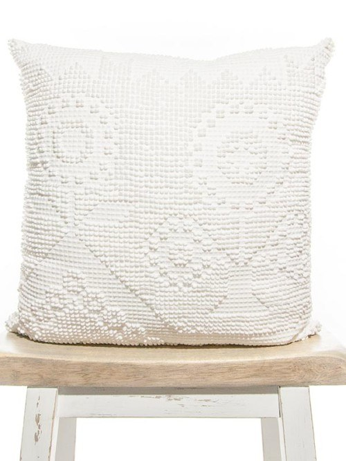 Pixelated Vintage White Cotton Square Pillow