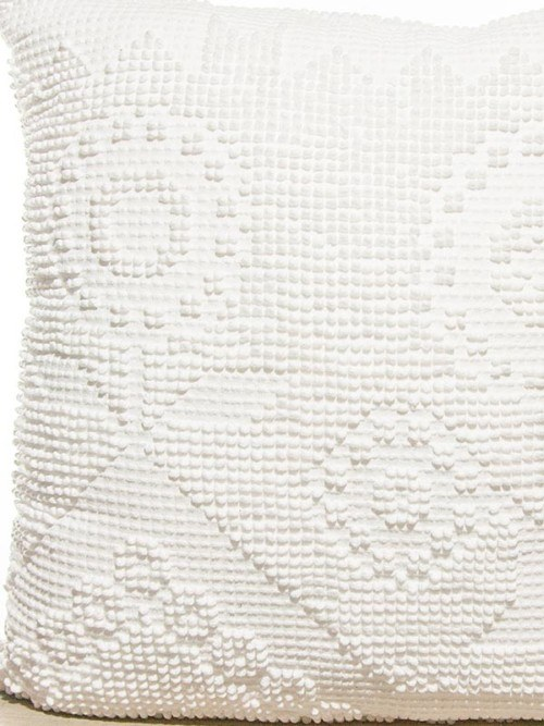 Pixelated Vintage White Cotton Square Pillow Zoom