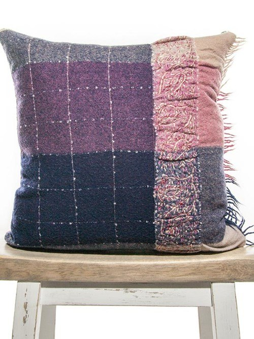 Purple Embroidered Check Throw Pillow