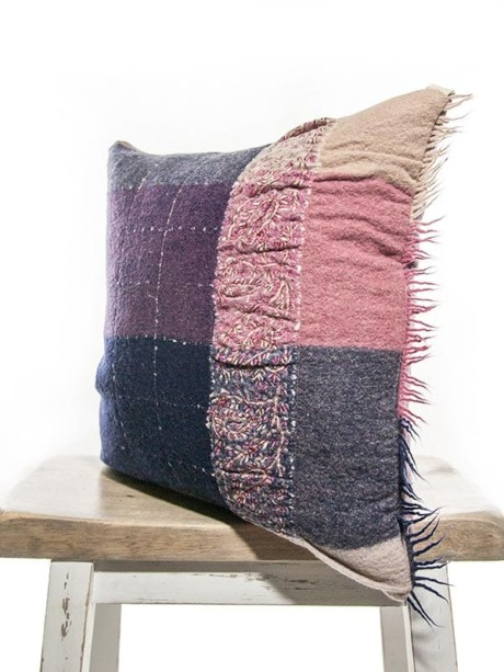 Purple Embroidered Check Throw Pillow Corner