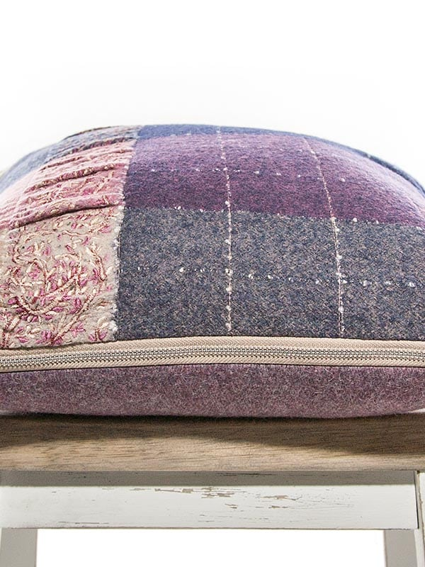 Purple Embroidered Check Throw Pillow Flat
