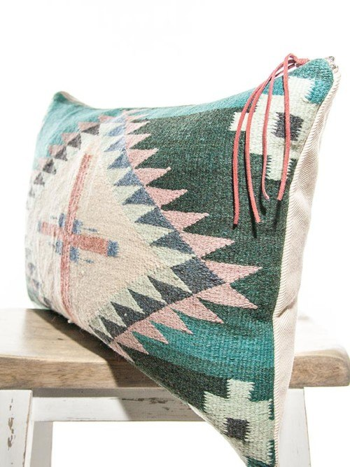 Teal Vintage Navajo Lumbar Pillow Corner