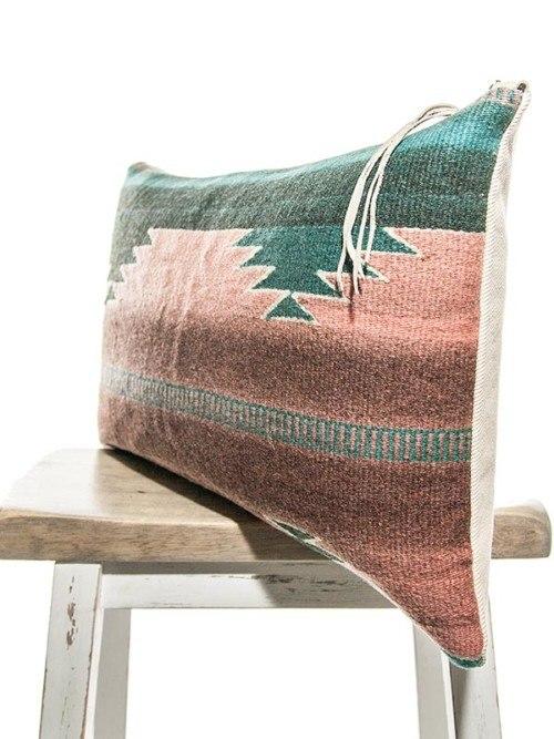 Teal Vintage Navajo Lumbar Pillow Corner V2