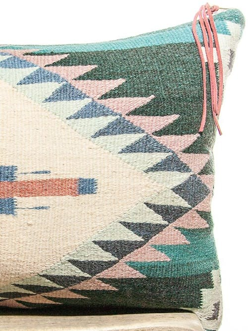 Teal Vintage Navajo Lumbar Pillow Zoom