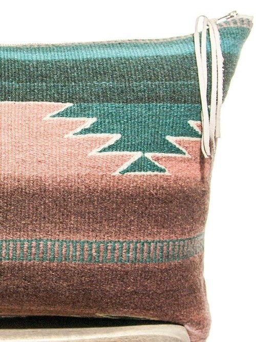 Teal Vintage Navajo Lumbar Pillow Zoom V2