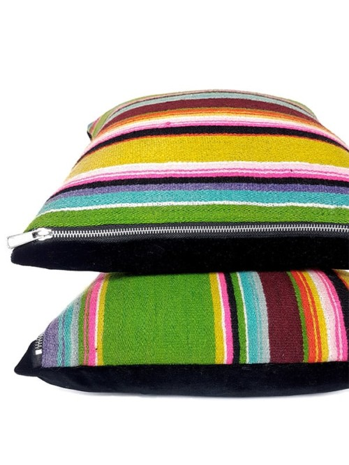 Vintage Granny Smith Serape Throw Pillow Stack
