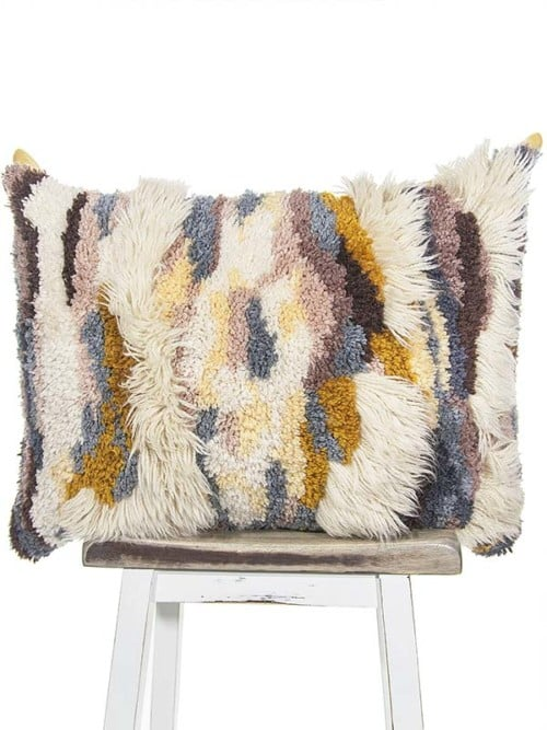 Vintage Latch Hook Earthy Floor Pillow