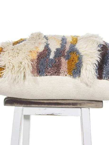 Vintage Latch Hook Earthy Floor Pillow Flat