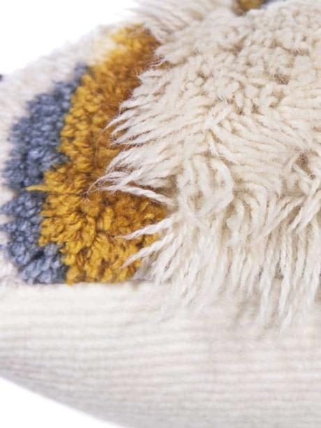 Vintage Latch Hook Earthy Floor Pillow Flat Zoom