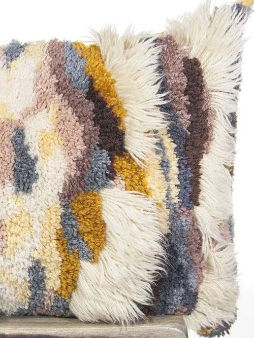 Vintage Latch Hook Earthy Floor Pillow Zoom