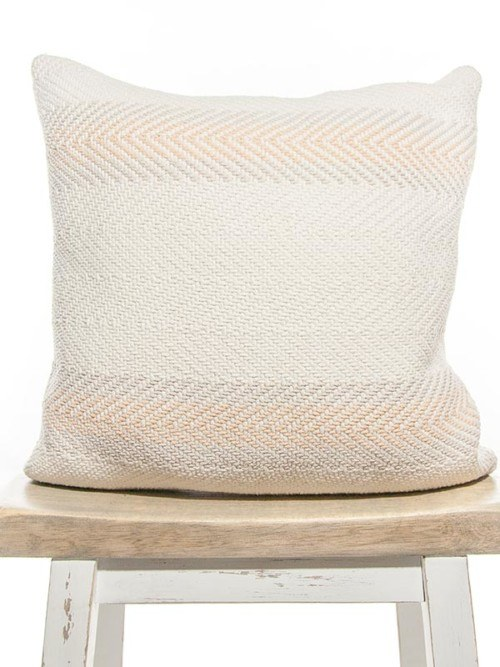 Vintage Wooven Peach White Cotton Striped Square Pillow