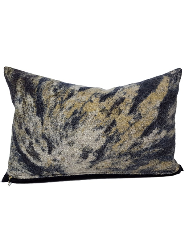 Aritzia Boiled Wool Lumbar Pillow Gold Front