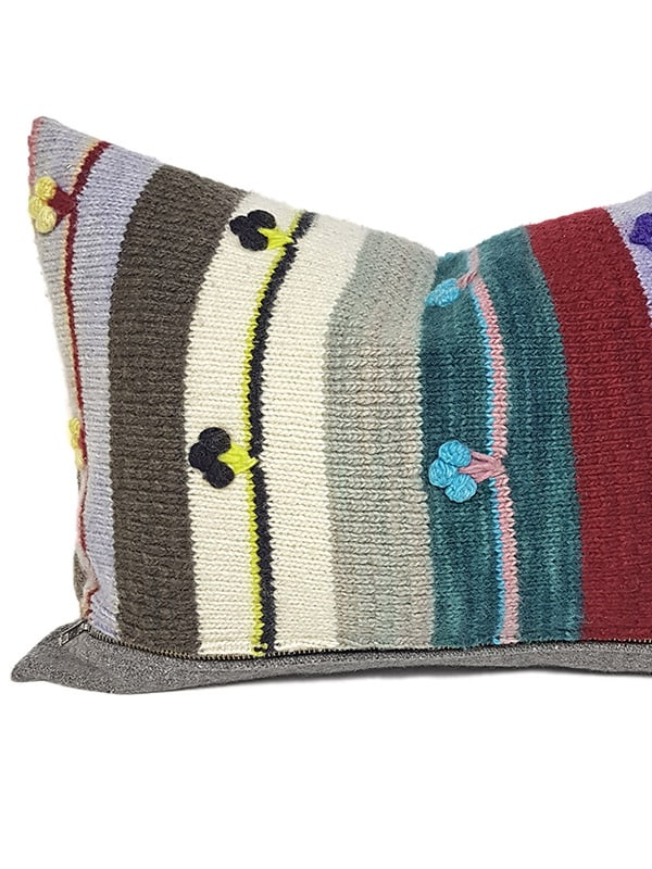 Bobble Striped Small Lumbar Pillow Feature