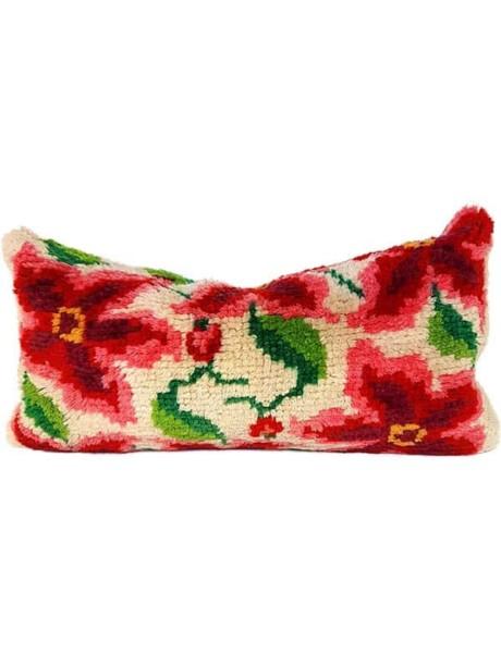 Floral Latch Hook Lumbar Pillow Front
