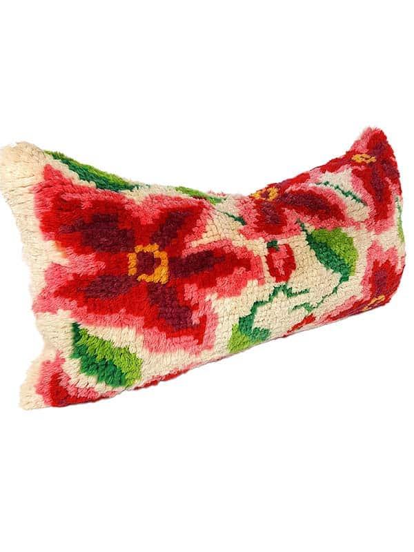 Floral Latch Hook Lumbar Pillow Side
