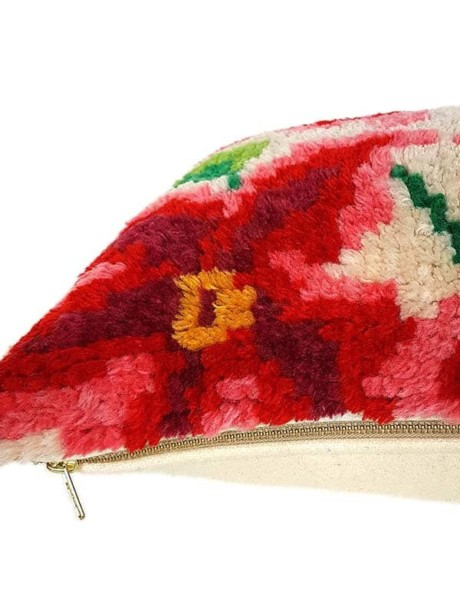 Floral Latch Hook Lumbar Pillow Zipper
