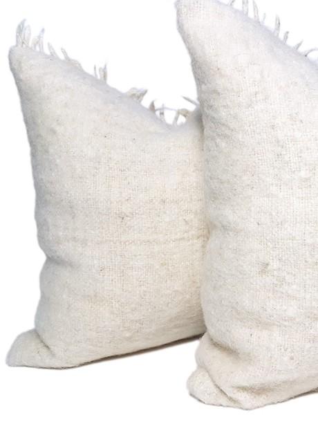 Momostenango Wool Chunky Stripe Throw Pillow Back Pair