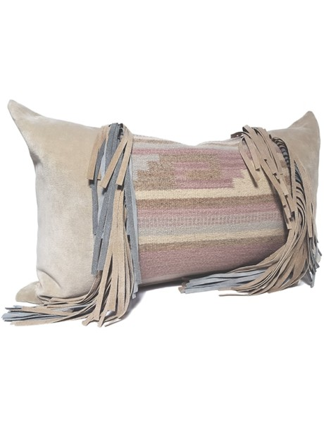 Navajo Nation Fringed Lumbar Pillow Maze Fringe Side