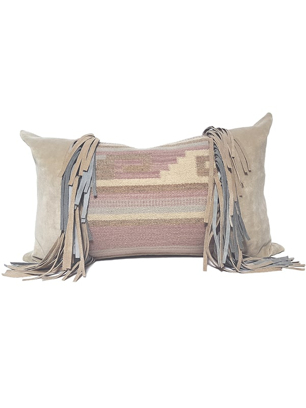 Navajo Nation Fringed Lumbar Pillow Maze Fringe