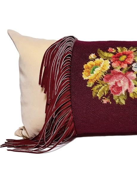 Needle Point Fringe Lumbar Pillow Feature