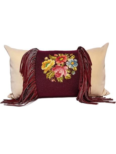 Needle Point Fringe Lumbar Pillow Front
