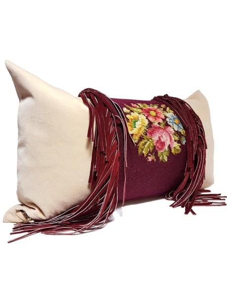 Needle Point Fringe Lumbar Pillow Side