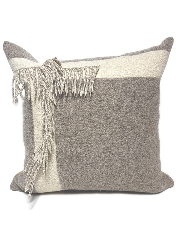T Fringe Felted Throw Pillow Front