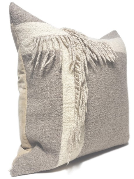 T Fringe Felted Throw Pillow Side