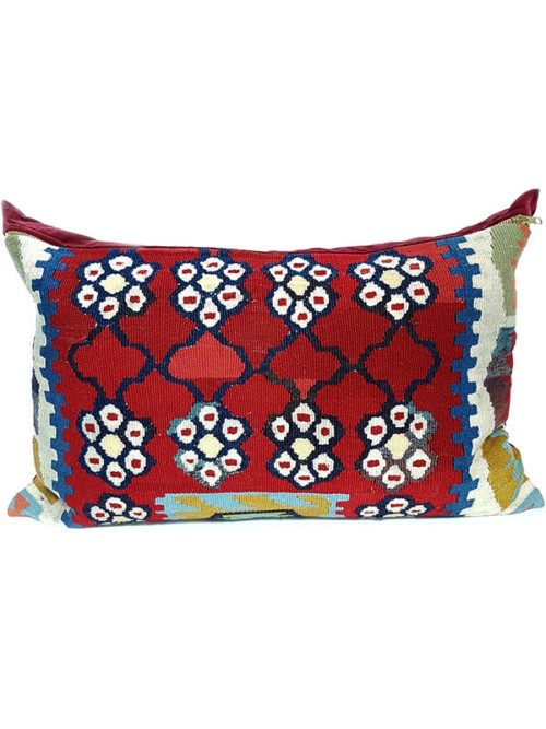 Turkish Kilim Red Lumbar Pillow