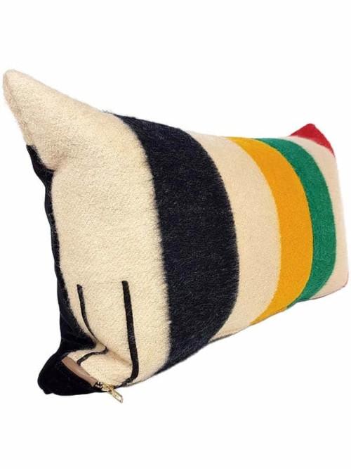 Vintage Hudson Bay 2 Point Lumbar Pillow Side